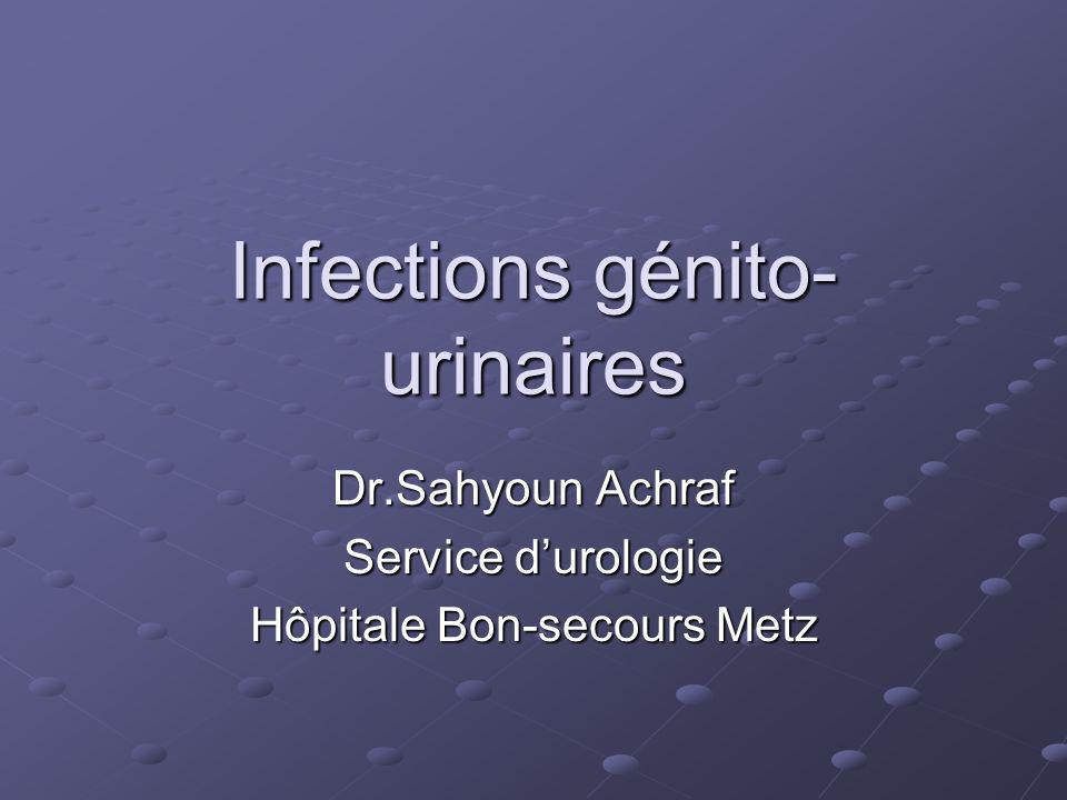 Physiopathologie les causes sont : 1.Calcul infecté 2.Prostatite bactérienne chronique 3.Rein atrophique unilatéral 4.Fistule vésico-vaginale, ou entéro-vésicale 5.Diverticule urétral 6.Nécrose papillaire 7.Kyste de louraque infecté 8.Corps étranger
