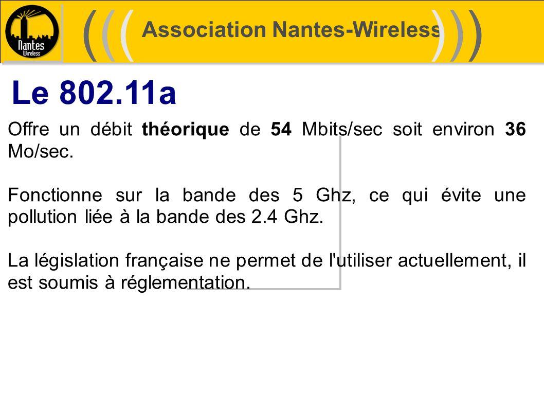 Association Nantes-Wireless (((((()))))) Le 802.11a Offre un débit théorique de 54 Mbits/sec soit environ 36 Mo/sec. Fonctionne sur la bande des 5 Ghz