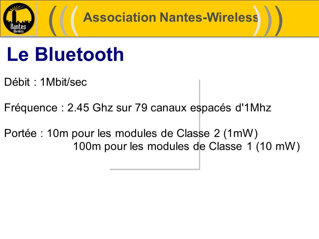 Association Nantes-Wireless (((((()))))) Le Bluetooth Débit : 1Mbit/sec Fréquence : 2.45 Ghz sur 79 canaux espacés d'1Mhz Portée : 10m pour les module