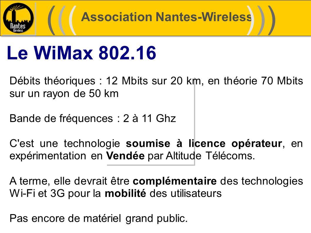 Association Nantes-Wireless (((((()))))) Le WiMax 802.16 Débits théoriques : 12 Mbits sur 20 km, en théorie 70 Mbits sur un rayon de 50 km Bande de fr