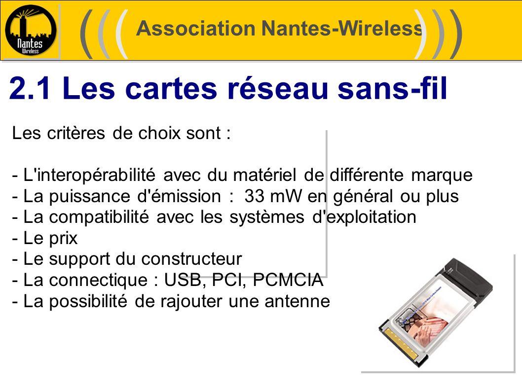Association Nantes-Wireless (((((()))))) 2.1 Les cartes réseau sans-fil Les critères de choix sont : - L'interopérabilité avec du matériel de différen