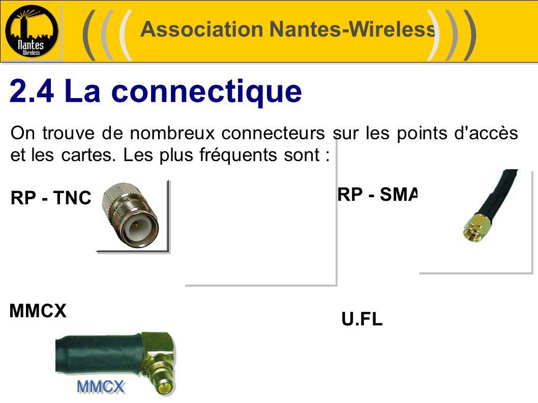 Association Nantes-Wireless (((((()))))) 2.4 La connectique On trouve de nombreux connecteurs sur les points d'accès et les cartes. Les plus fréquents