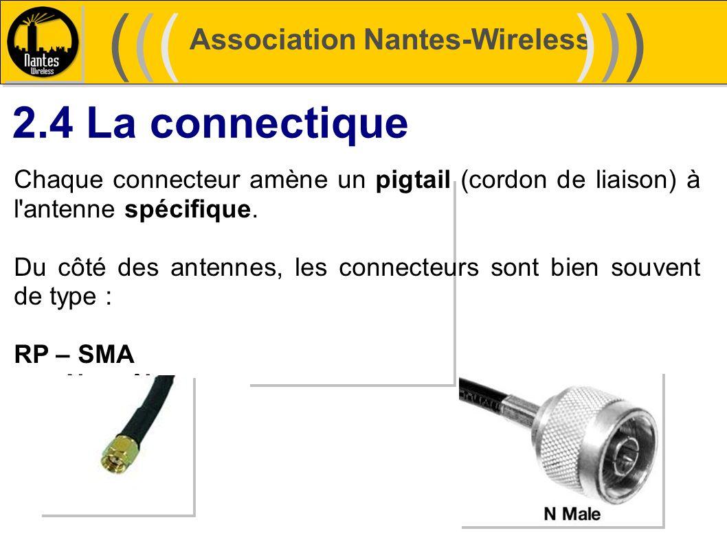 Association Nantes-Wireless (((((()))))) 2.4 La connectique Chaque connecteur amène un pigtail (cordon de liaison) à l'antenne spécifique. Du côté des