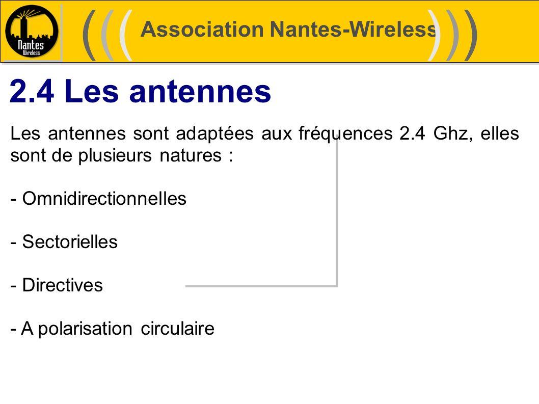 Association Nantes-Wireless (((((()))))) 2.4 Les antennes Les antennes sont adaptées aux fréquences 2.4 Ghz, elles sont de plusieurs natures : - Omnid