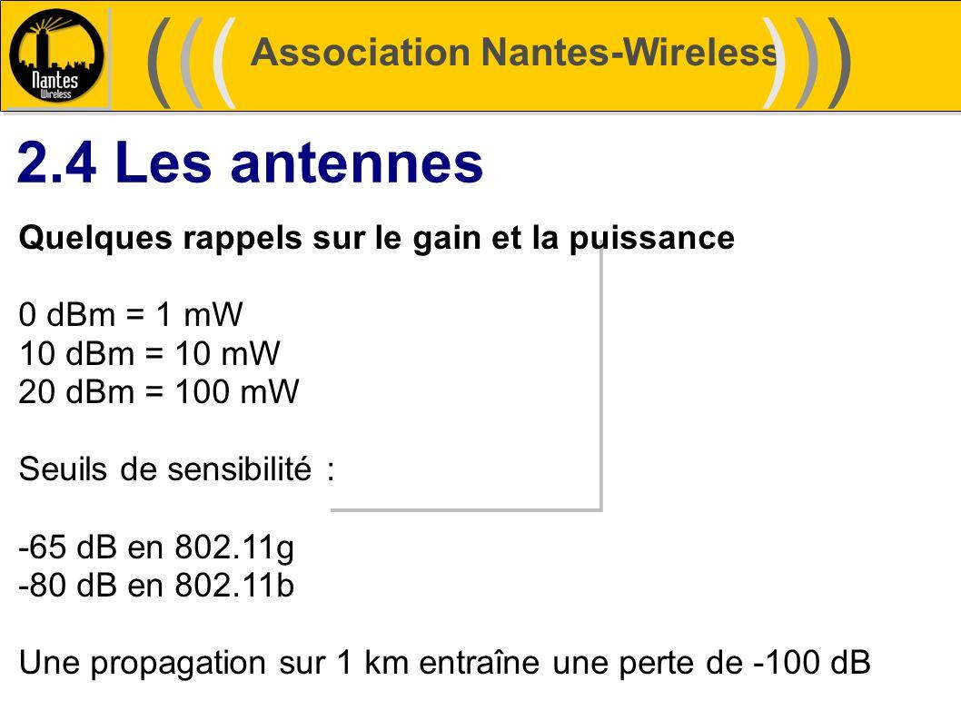 Association Nantes-Wireless (((((()))))) 2.4 Les antennes Quelques rappels sur le gain et la puissance 0 dBm = 1 mW 10 dBm = 10 mW 20 dBm = 100 mW Seu