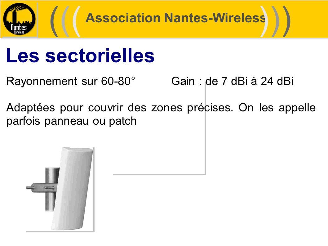 Association Nantes-Wireless (((((()))))) Les sectorielles Rayonnement sur 60-80°Gain : de 7 dBi à 24 dBi Adaptées pour couvrir des zones précises. On