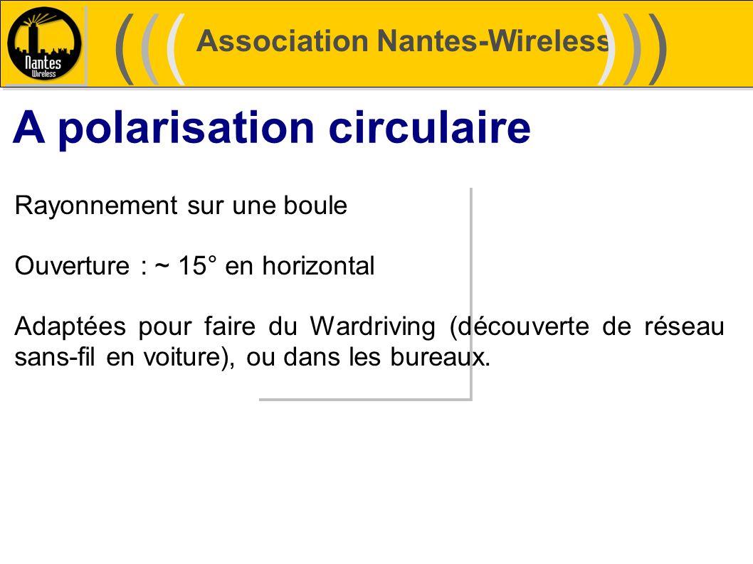 Association Nantes-Wireless (((((()))))) A polarisation circulaire Rayonnement sur une boule Ouverture : ~ 15° en horizontal Adaptées pour faire du Wa