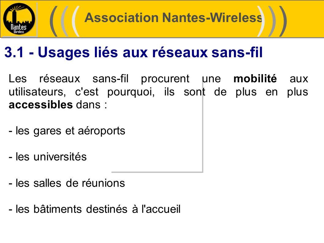 Association Nantes-Wireless (((((()))))) 3.1 - Usages liés aux réseaux sans-fil Les réseaux sans-fil procurent une mobilité aux utilisateurs, c'est po
