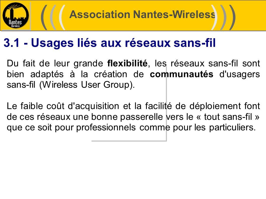 Association Nantes-Wireless (((((()))))) 3.1 - Usages liés aux réseaux sans-fil Du fait de leur grande flexibilité, les réseaux sans-fil sont bien ada