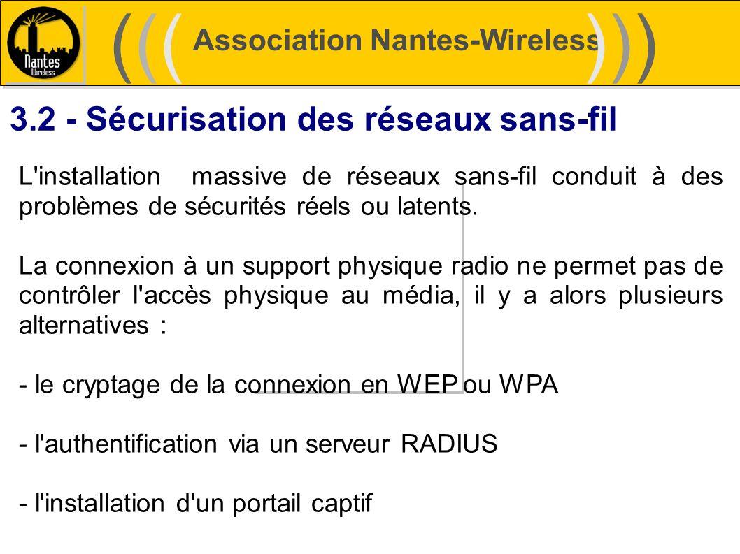 Association Nantes-Wireless (((((()))))) 3.2 - Sécurisation des réseaux sans-fil L'installation massive de réseaux sans-fil conduit à des problèmes de