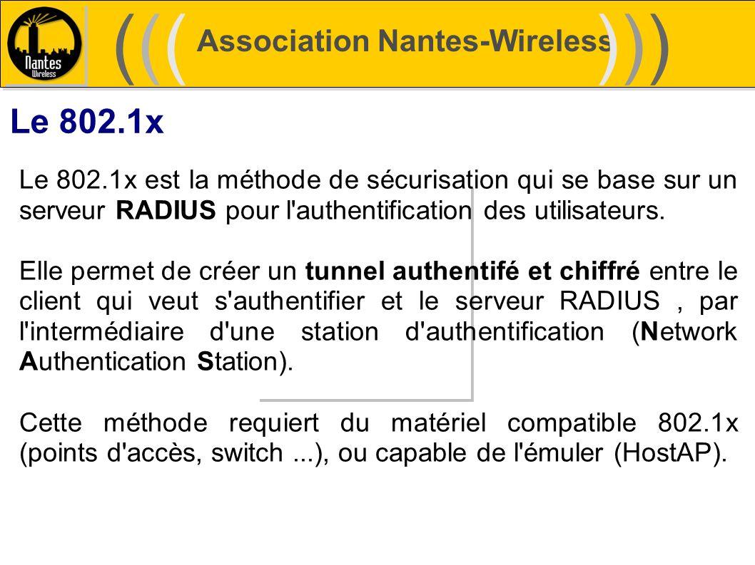 Association Nantes-Wireless (((((()))))) Le 802.1x Le 802.1x est la méthode de sécurisation qui se base sur un serveur RADIUS pour l'authentification
