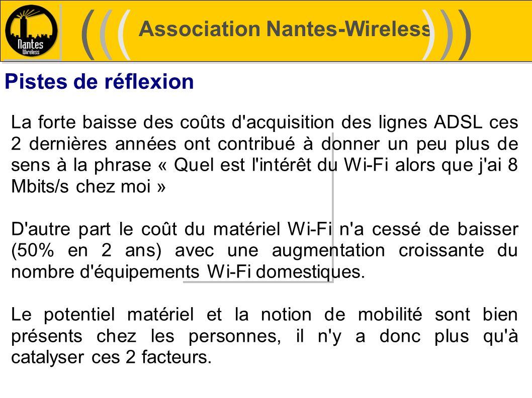 Association Nantes-Wireless (((((()))))) Pistes de réflexion La forte baisse des coûts d'acquisition des lignes ADSL ces 2 dernières années ont contri
