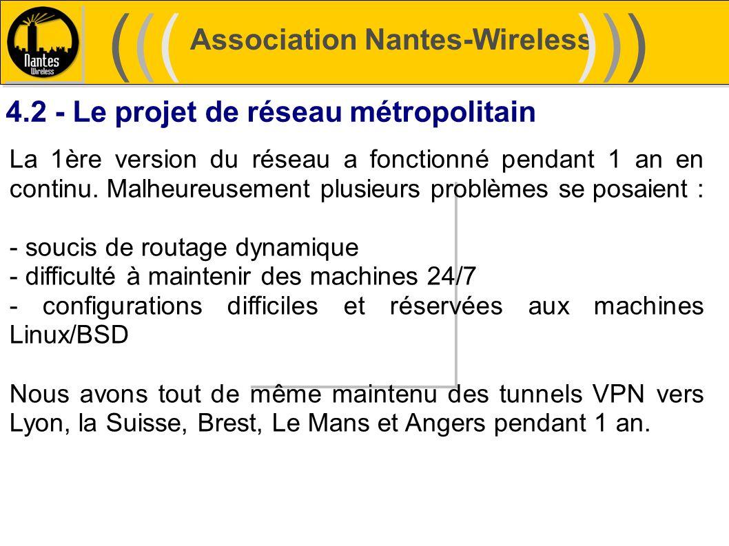 Association Nantes-Wireless (((((()))))) 4.2 - Le projet de réseau métropolitain La 1ère version du réseau a fonctionné pendant 1 an en continu. Malhe