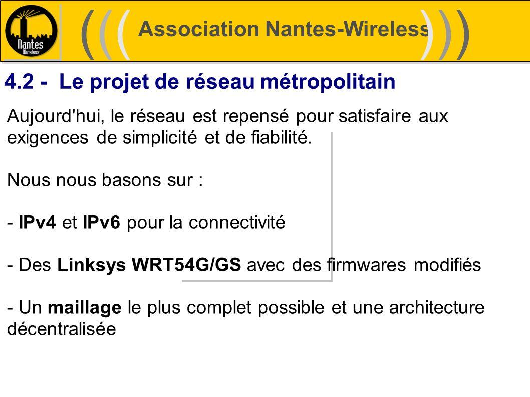 Association Nantes-Wireless (((((()))))) 4.2 - Le projet de réseau métropolitain Aujourd'hui, le réseau est repensé pour satisfaire aux exigences de s