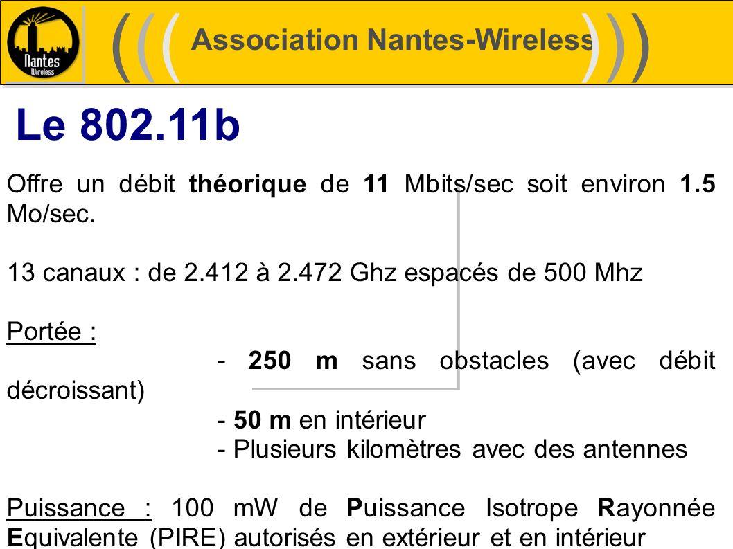 Association Nantes-Wireless (((((()))))) Le 802.11b Offre un débit théorique de 11 Mbits/sec soit environ 1.5 Mo/sec. 13 canaux : de 2.412 à 2.472 Ghz