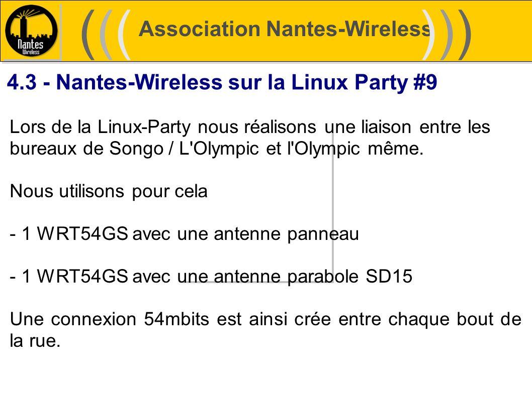 Association Nantes-Wireless (((((()))))) 4.3 - Nantes-Wireless sur la Linux Party #9 Lors de la Linux-Party nous réalisons une liaison entre les burea