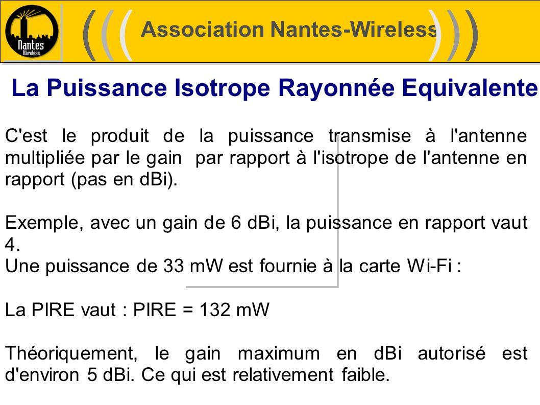 Association Nantes-Wireless (((((()))))) La Puissance Isotrope Rayonnée Equivalente C'est le produit de la puissance transmise à l'antenne multipliée