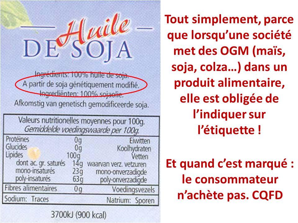 Tout simplement, parce que lorsquune société met des OGM (maïs, soja, colza…) dans un produit alimentaire, elle est obligée de lindiquer sur létiquett