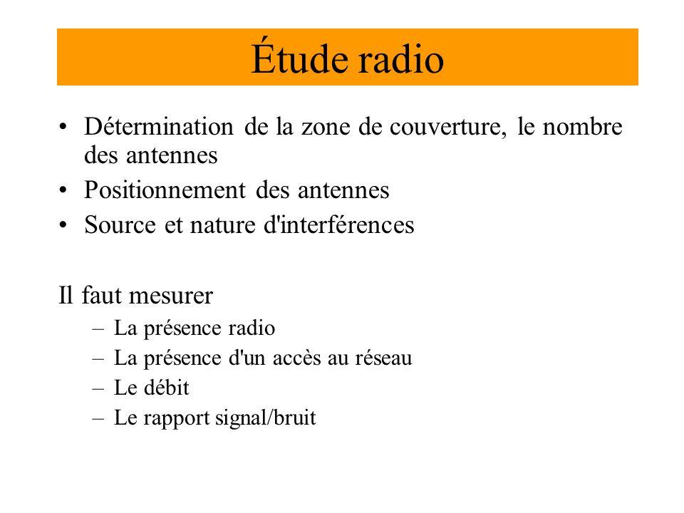 Étude radio Détermination de la zone de couverture, le nombre des antennes Positionnement des antennes Source et nature d interférences Il faut mesurer –La présence radio –La présence d un accès au réseau –Le débit –Le rapport signal/bruit