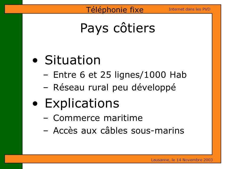 Situation – Entre 6 et 25 lignes/1000 Hab – Réseau rural peu développé Explications – Commerce maritime – Accès aux câbles sous-marins Téléphonie fixe