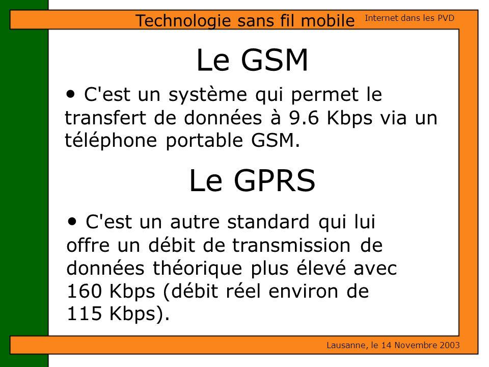 Le GSM C'est un système qui permet le transfert de données à 9.6 Kbps via un téléphone portable GSM. Lausanne, le 14 Novembre 2003 Internet dans les P
