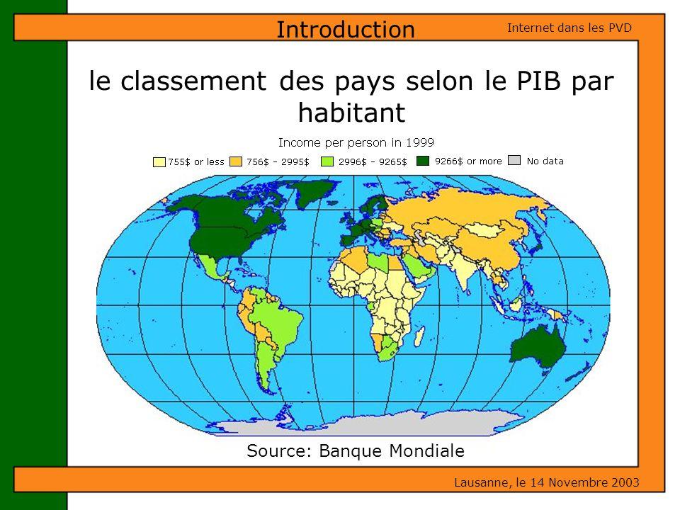 le classement des pays selon le PIB par habitant Lausanne, le 14 Novembre 2003 Internet dans les PVD Introduction Source: Banque Mondiale