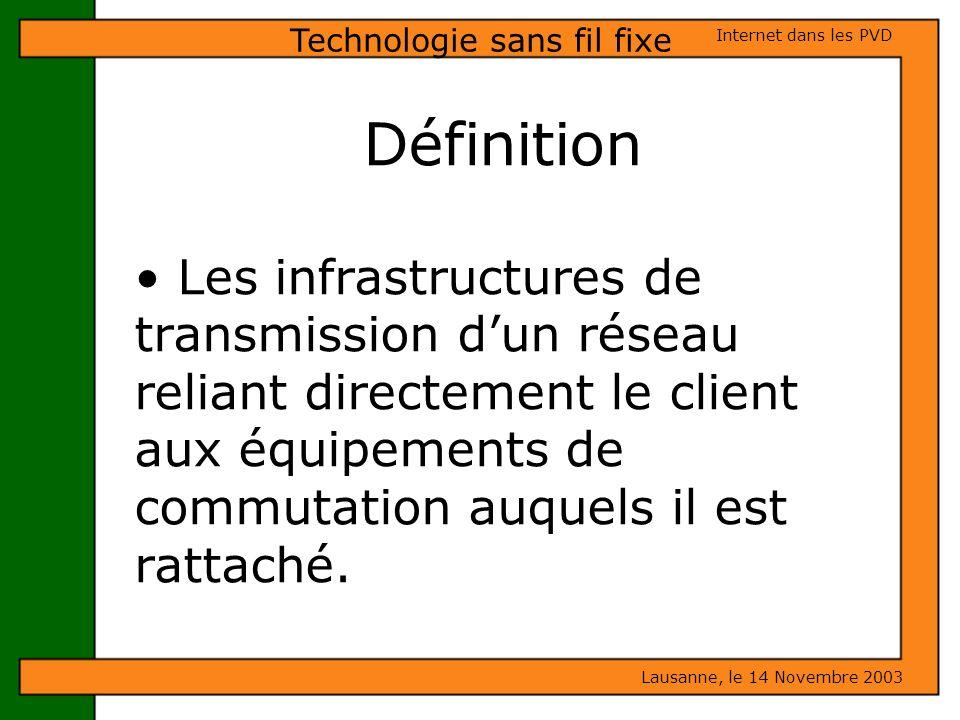 Définition Les infrastructures de transmission dun réseau reliant directement le client aux équipements de commutation auquels il est rattaché. Lausan