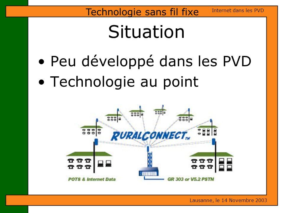 Peu développé dans les PVD Technologie au point Lausanne, le 14 Novembre 2003 Internet dans les PVD Technologie sans fil fixe Situation