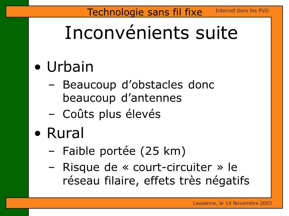 Inconvénients suite Urbain – Beaucoup dobstacles donc beaucoup dantennes – Coûts plus élevés Rural – Faible portée (25 km) – Risque de « court-circuit