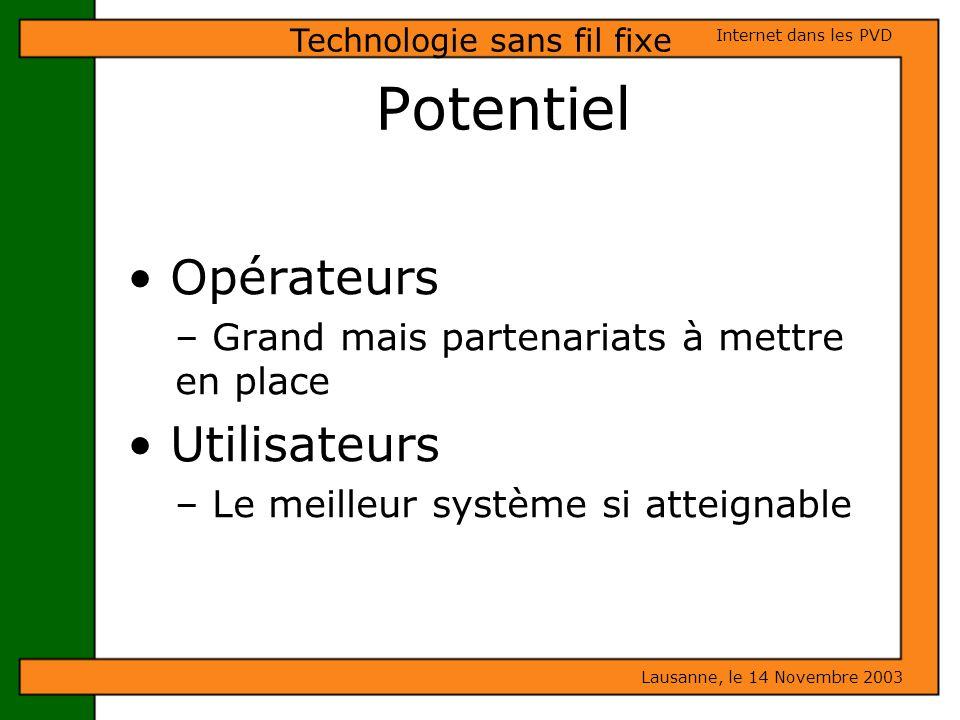 Potentiel Opérateurs – Grand mais partenariats à mettre en place Utilisateurs – Le meilleur système si atteignable Lausanne, le 14 Novembre 2003 Inter