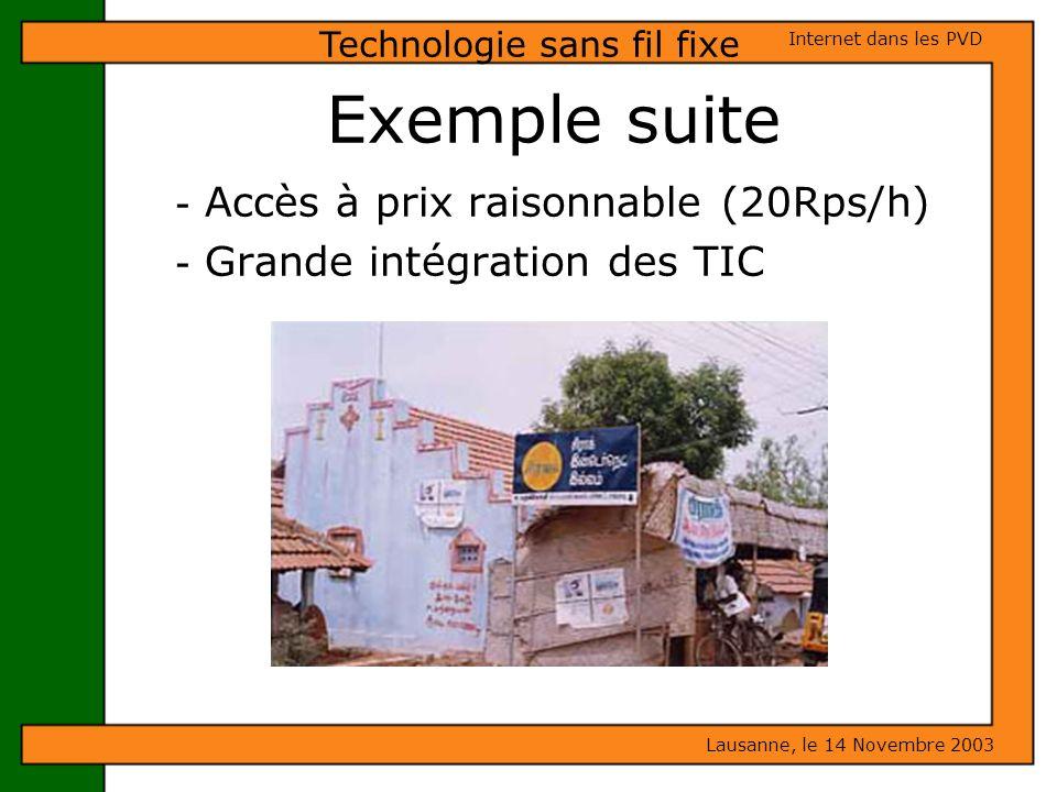 Exemple suite - Accès à prix raisonnable (20Rps/h) - Grande intégration des TIC Lausanne, le 14 Novembre 2003 Internet dans les PVD Technologie sans f