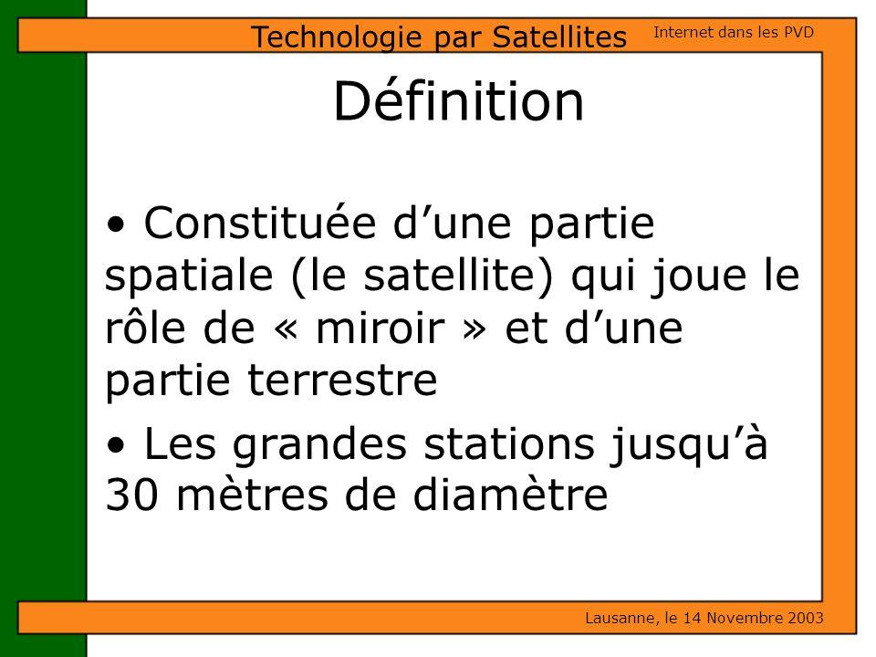 Définition Constituée dune partie spatiale (le satellite) qui joue le rôle de « miroir » et dune partie terrestre Les grandes stations jusquà 30 mètre