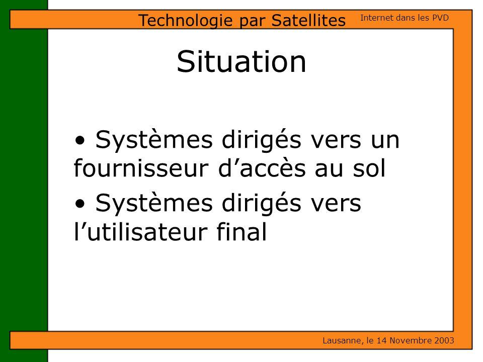 Situation Systèmes dirigés vers un fournisseur daccès au sol Systèmes dirigés vers lutilisateur final Lausanne, le 14 Novembre 2003 Internet dans les