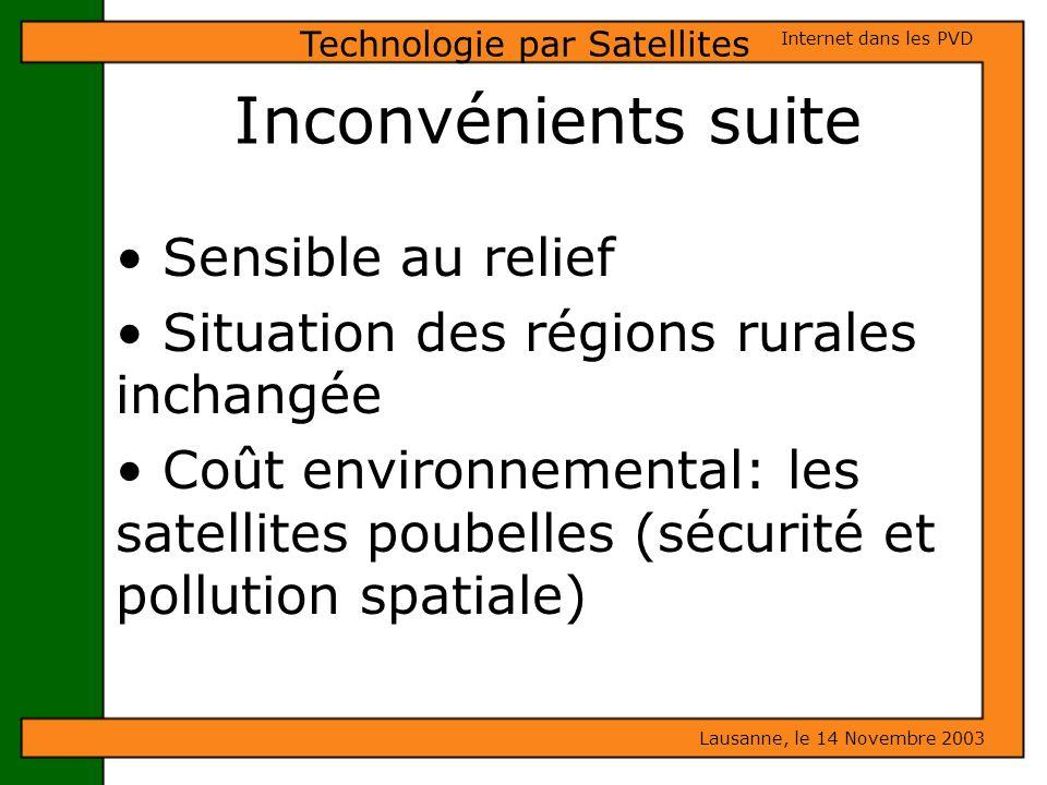 Inconvénients suite Sensible au relief Situation des régions rurales inchangée Coût environnemental: les satellites poubelles (sécurité et pollution s
