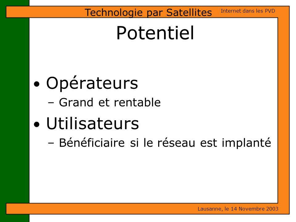 Potentiel Opérateurs – Grand et rentable Utilisateurs – Bénéficiaire si le réseau est implanté Lausanne, le 14 Novembre 2003 Internet dans les PVD Tec