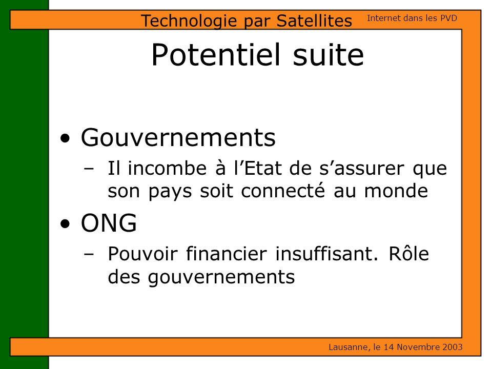 Potentiel suite Gouvernements – Il incombe à lEtat de sassurer que son pays soit connecté au monde ONG – Pouvoir financier insuffisant. Rôle des gouve