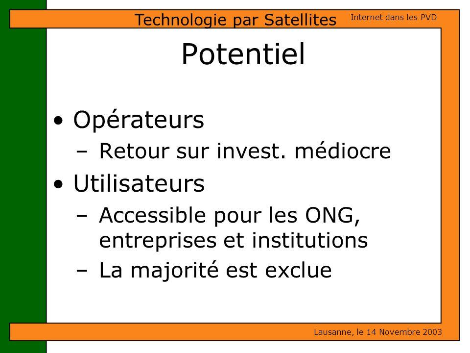 Potentiel Opérateurs – Retour sur invest. médiocre Utilisateurs – Accessible pour les ONG, entreprises et institutions – La majorité est exclue Lausan