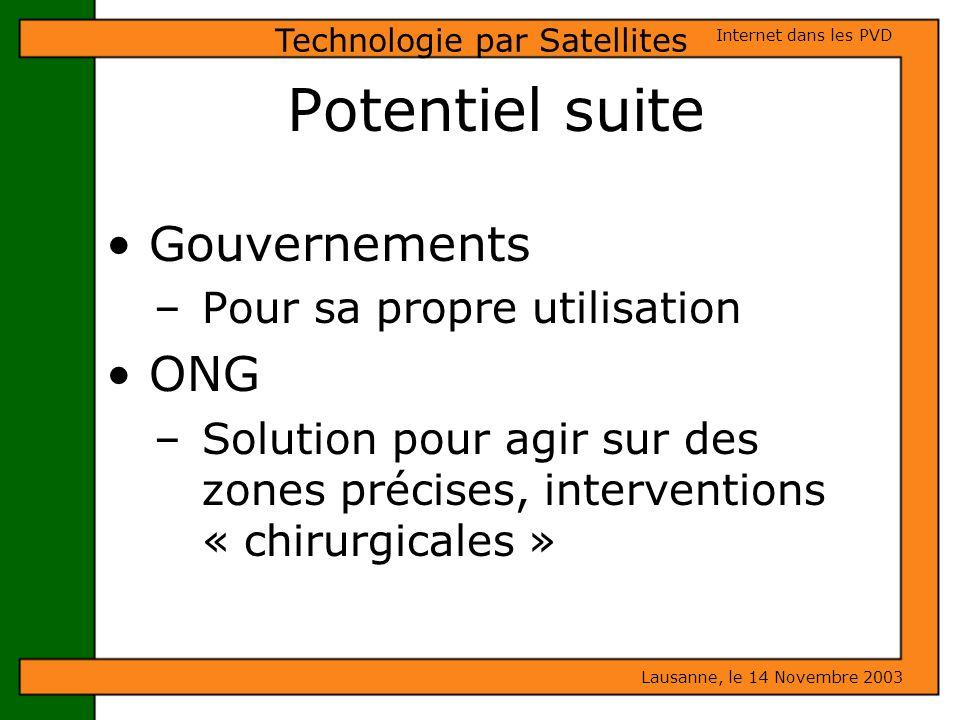 Potentiel suite Gouvernements – Pour sa propre utilisation ONG – Solution pour agir sur des zones précises, interventions « chirurgicales » Lausanne,