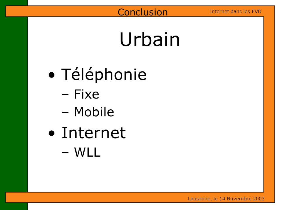 Téléphonie – Fixe – Mobile Internet – WLL Conclusion Urbain Lausanne, le 14 Novembre 2003 Internet dans les PVD