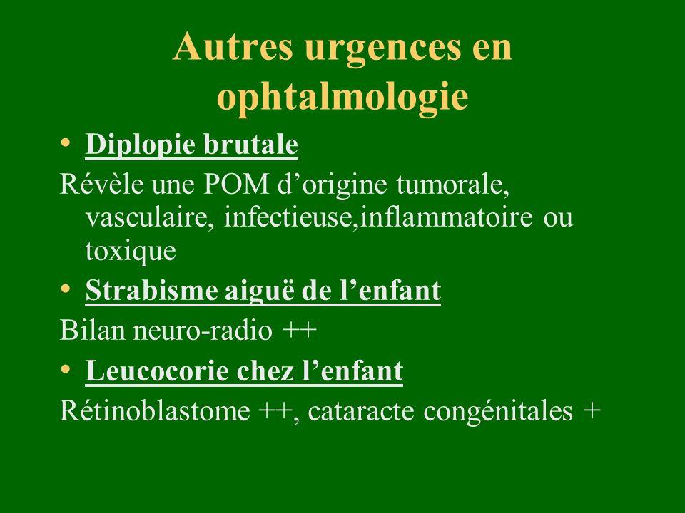 Autres urgences en ophtalmologie Diplopie brutale Révèle une POM dorigine tumorale, vasculaire, infectieuse,inflammatoire ou toxique Strabisme aiguë d