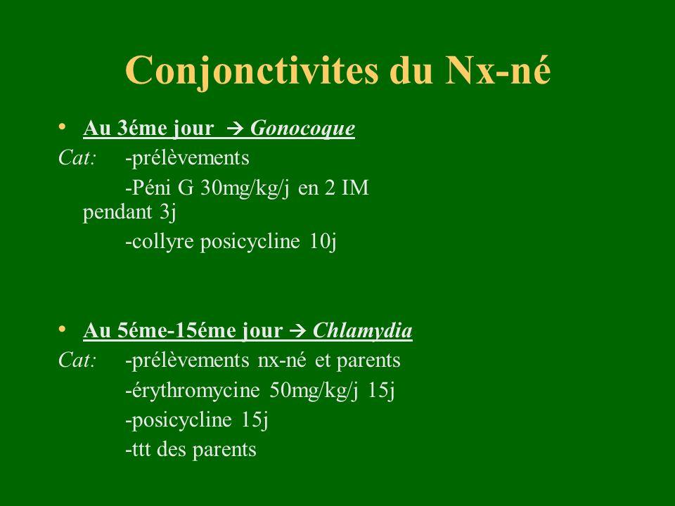 Conjonctivites du Nx-né Au 3éme jour Gonocoque Cat: -prélèvements -Péni G 30mg/kg/j en 2 IM pendant 3j -collyre posicycline 10j Au 5éme-15éme jour Chl