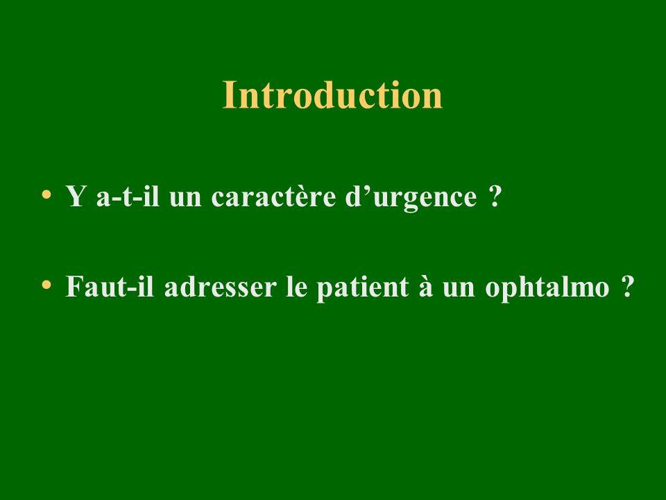 Introduction Y a-t-il un caractère durgence ? Faut-il adresser le patient à un ophtalmo ?