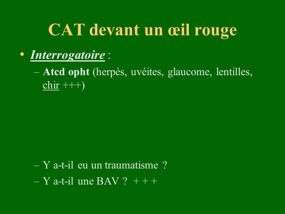 CAT devant un œil rouge Examen de lœil : 1.Calmer la douleur avec oxybuprocaïne unidose 2.Inspection :Paupières (plaie, inflammation…) Conjonctives Cornée avec fluorescéine + lumière bleu (kératite, érosion, œdème, plaie…) Pupille (déformation, réactivité) Chambre antérieure ( hypopion, hyphéma…) 3.Palpation :hypertonie oculaire savoir retourner la paupière supérieure