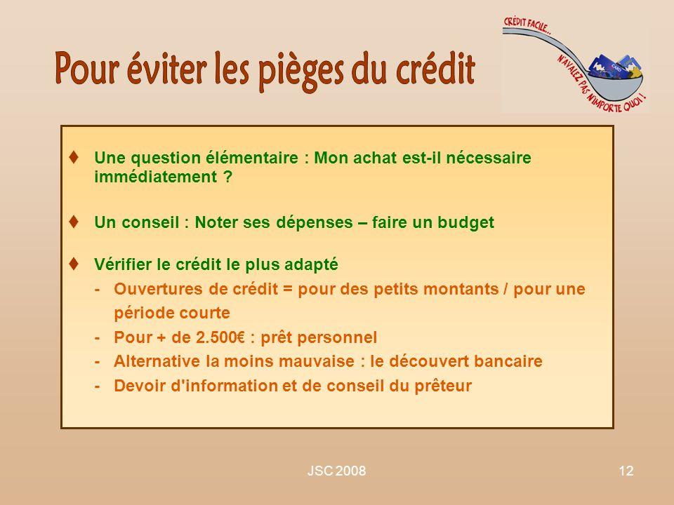 JSC 200812 Une question élémentaire : Mon achat est-il nécessaire immédiatement ? Un conseil : Noter ses dépenses – faire un budget Vérifier le crédit