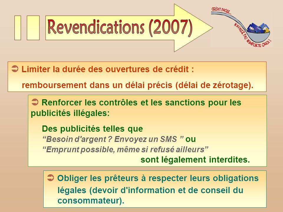 JSC 200815 Limiter la durée des ouvertures de crédit : remboursement dans un délai précis (délai de zérotage). Renforcer les contrôles et les sanction
