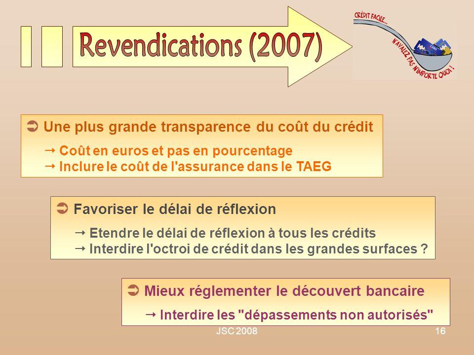 JSC 200816 Une plus grande transparence du coût du crédit Coût en euros et pas en pourcentage Inclure le coût de l'assurance dans le TAEG Favoriser le