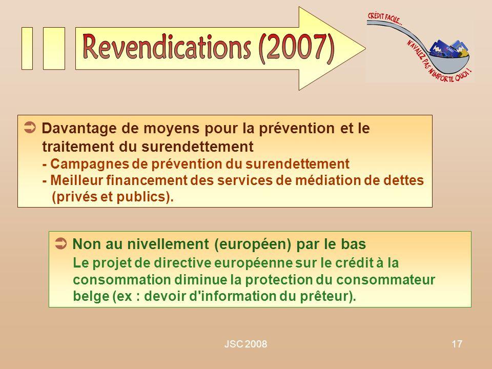 JSC 200817 Davantage de moyens pour la prévention et le traitement du surendettement - Campagnes de prévention du surendettement - Meilleur financemen
