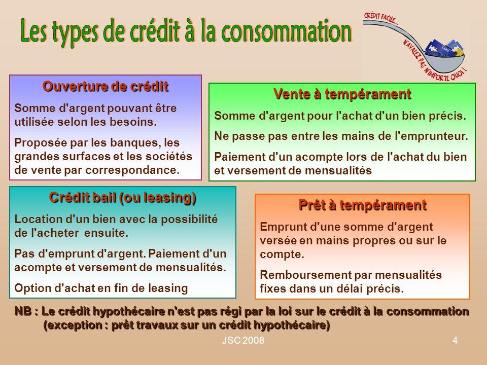 JSC 20084 Crédit bail (ou leasing) Location d'un bien avec la possibilité de l'acheter ensuite. Pas d'emprunt d'argent. Paiement d'un acompte et verse