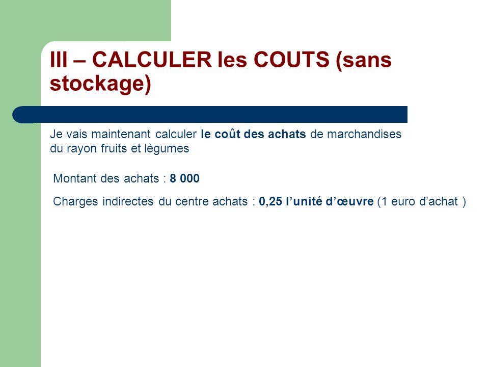 III – CALCULER les COUTS (sans stockage) Je vais maintenant calculer le coût des achats de marchandises du rayon fruits et légumes Montant des achats