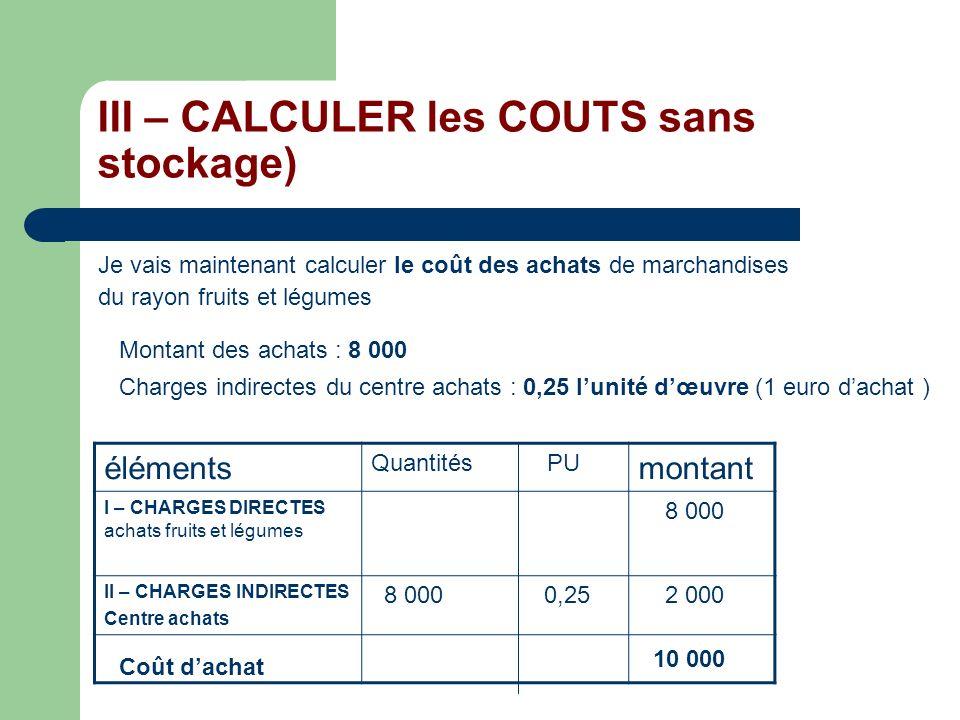 III – CALCULER les COUTS sans stockage) Je vais maintenant calculer le coût des achats de marchandises du rayon fruits et légumes Montant des achats :